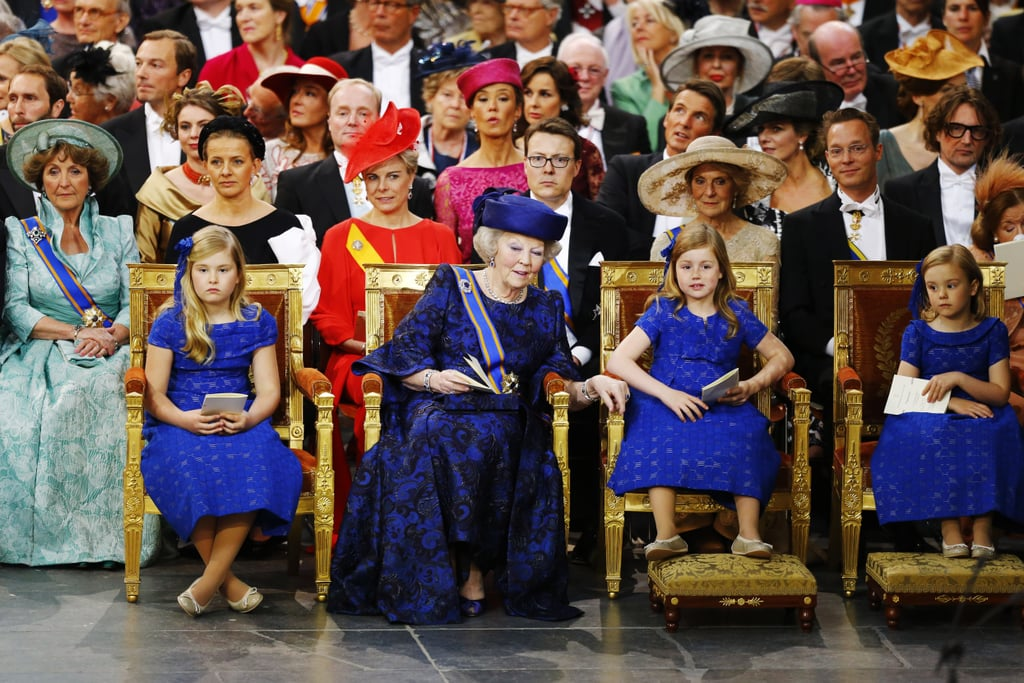Princess Beatrix sat with her granddaughters Catharina-Amalia, Alexia, and Ariane.