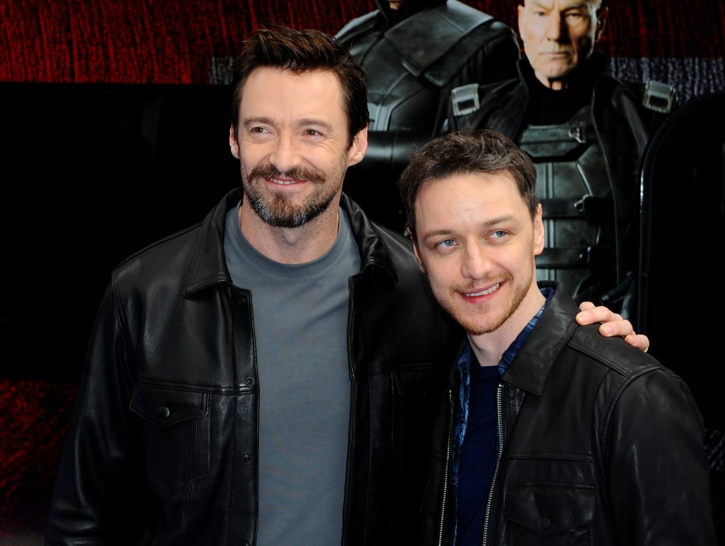 Hugh Jackman and James McAvoy promoted X-Men: Days of Future Past by unveiling a specially wrapped Virgin train in London.