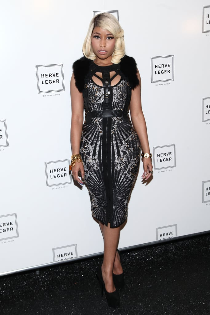 Nicki Minaj went retro for the Hervé Léger show on Saturday.