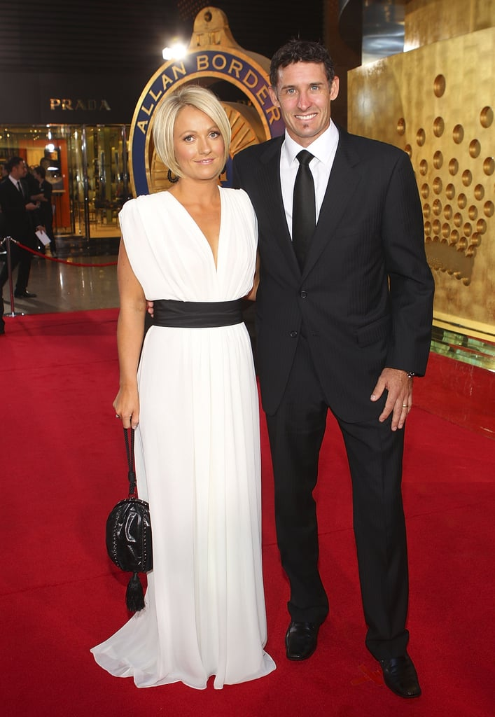 The other Husseys: Mike Hussey and Amy Hussey were chic in monochrome ensembles.