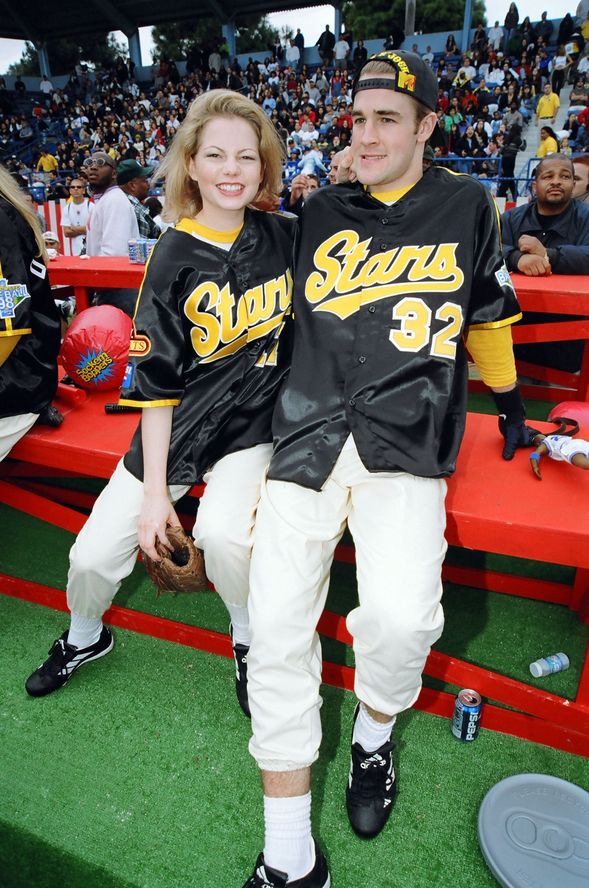 Michelle Williams and James Van der Beek attended MTV's Rock n' Jock Baseball game in Jan. 1998.