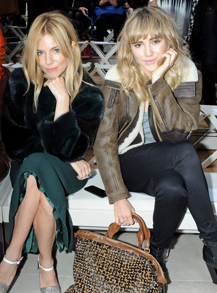 Sienna Miller and Suki Waterhouse sat together at the Burberry Prorsum show.