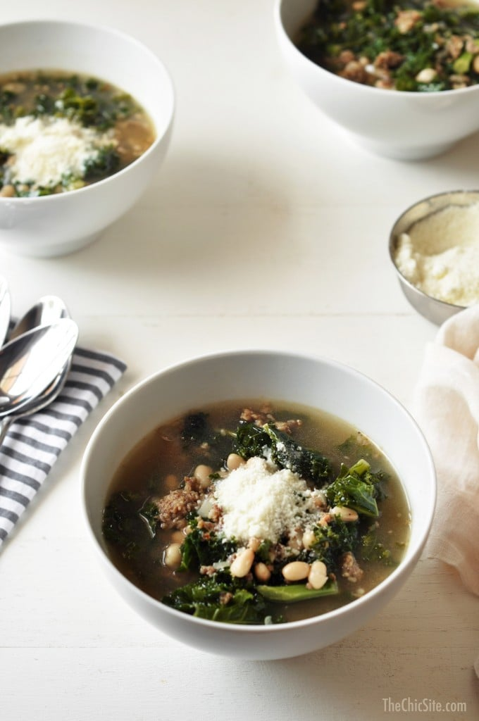 White Bean, Sausage, and Kale Soup