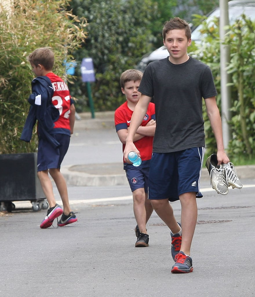 Brooklyn, Romeo, and Cruz Beckham joined their dad for a training session with Paris Saint-Germain.