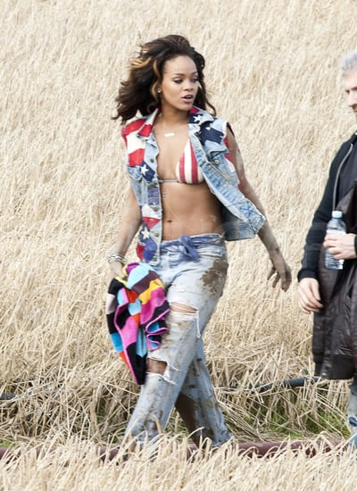 "Rihanna Pictures in a Bikini Top Shooting ""We Found Love"" Video"