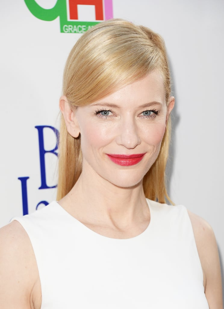 At the LA premiere of Blue Jasmine, Cate Blanchett went for a sleek deep side part paired with a stunning shade of red on her lips.