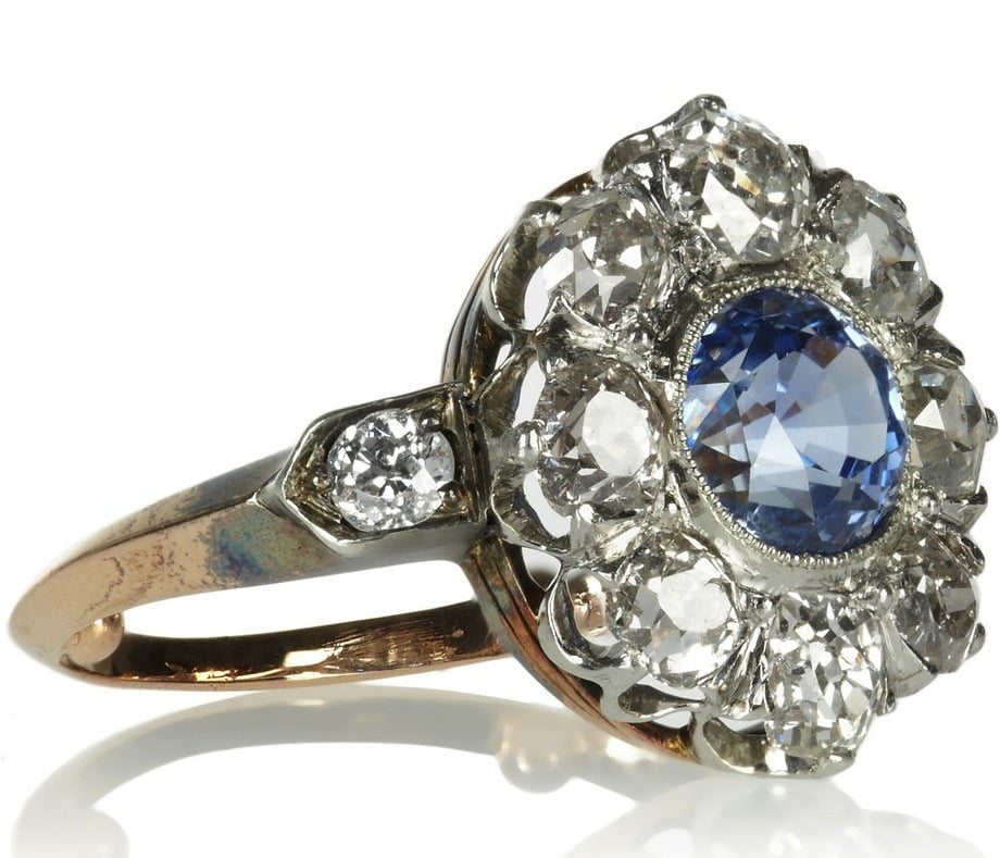 This Heirlooms Edwardian 18-karat gold, platinum, diamond, and sapphire ring ($14,660) could easily be something that's been passed down for generations, but instead, we've found one that just looks the vintage part.