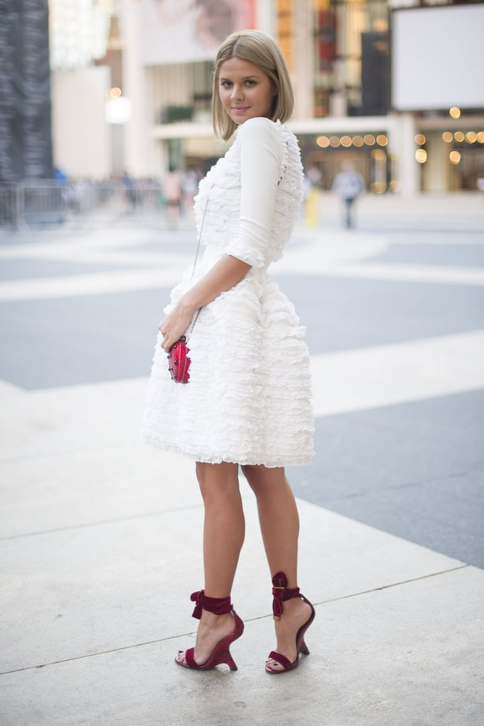 Only the best for Lincoln Center — this showgoer slipped into a frilly white dress and bow-tied heels.