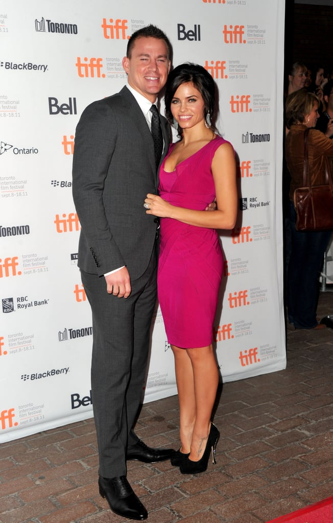 Husband-and-wife team Jenna Dewan and Channing Tatum flashed big smiles before the movie began.