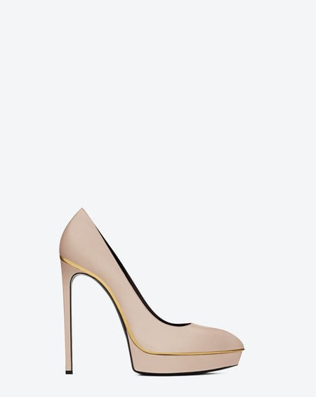Side view of the Janis pump with gold-toned trim and powder calfskin leather ($825).