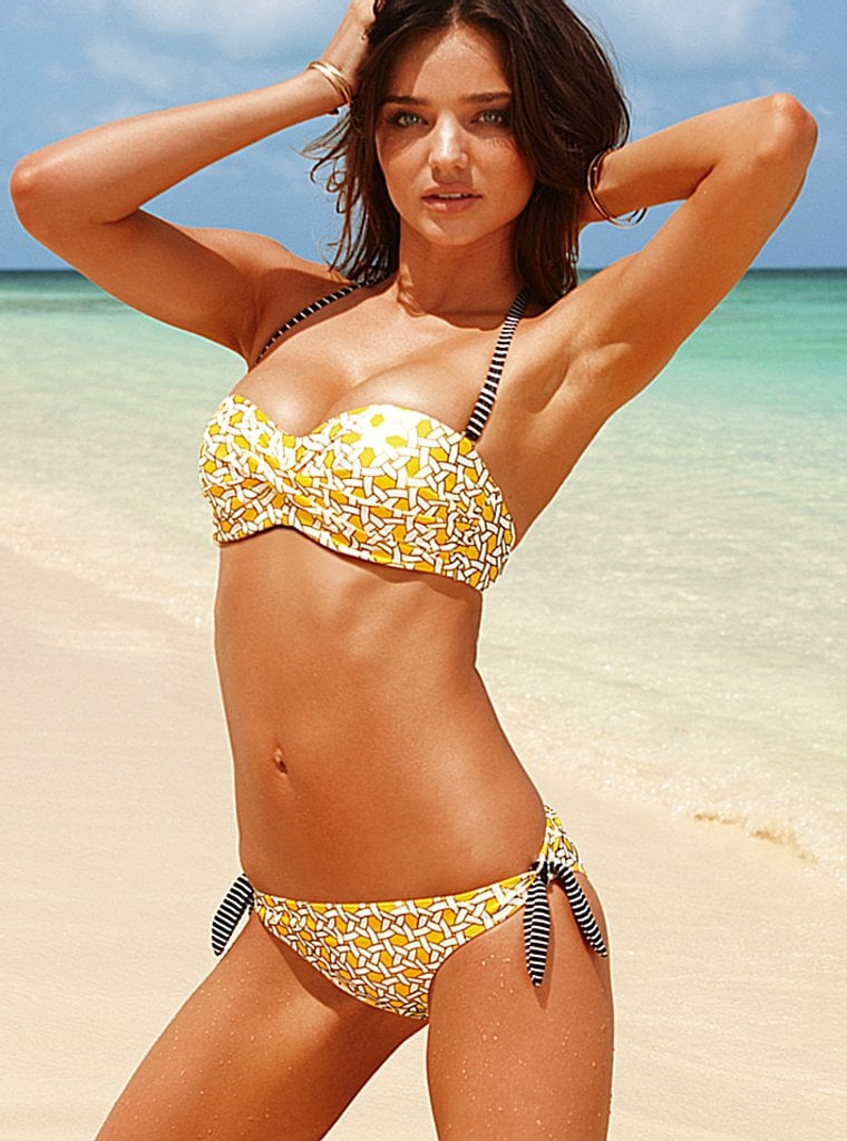 Miranda Kerr in a yellow bikini for Victoria's Secret's new ads.