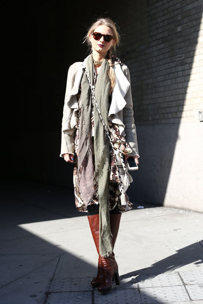 This show-goer made her look all about the texture with ruffled layers.