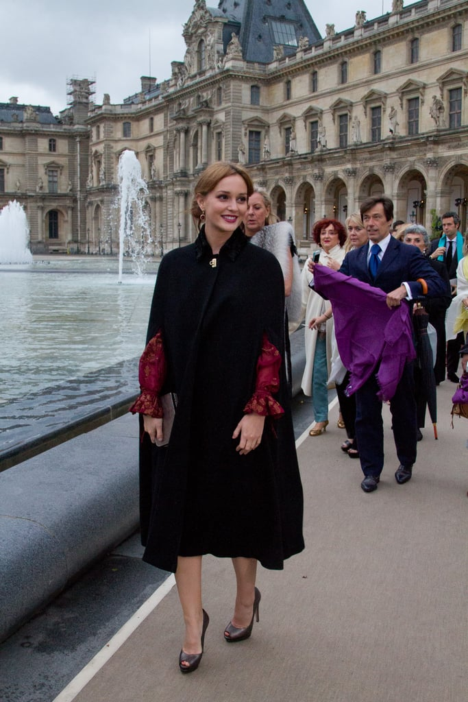 Leighton Meester arrived outside of the Louvre for the Salvatore Ferragamo Resort collection show in Paris.