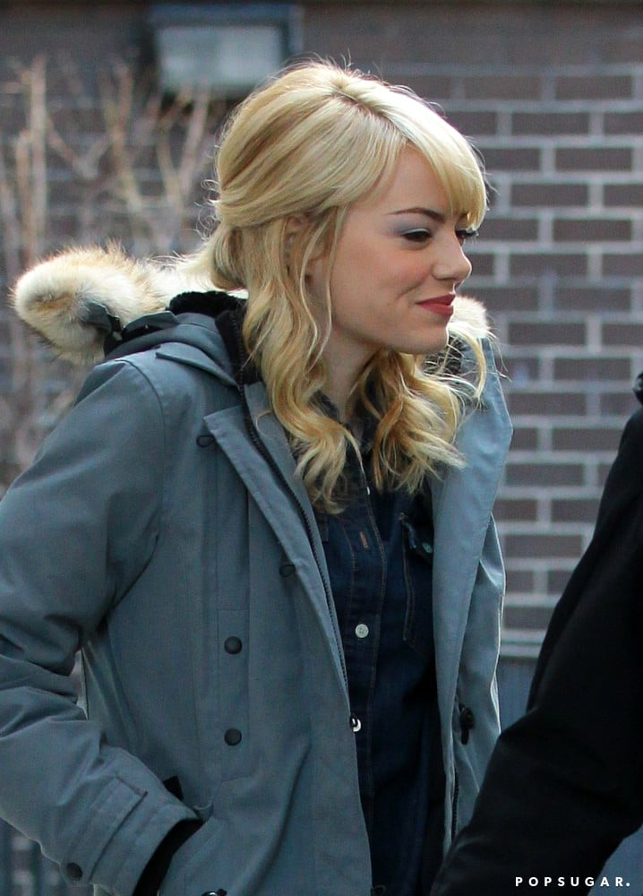 Emma Stone Smiles Big on Set While Andrew Garfield Packs Up