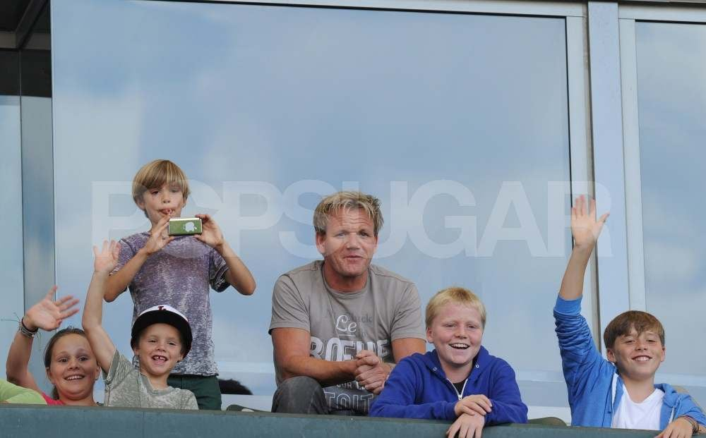 Romeo, Cruz, and Brooklyn Beckham With Gordon Ramsay at David's Galaxy game.