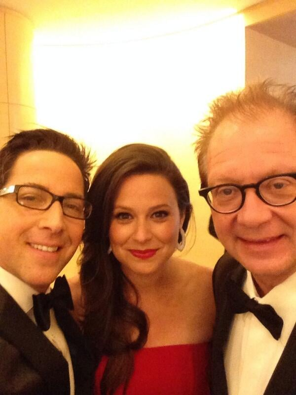 Dan caught up with his Scandal costars Katie Lowes and Jeff Perry before the big dinner.  Source: Twitter user danbucatinsky