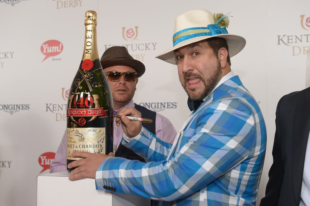 Joey Fatone's hat matched his jacket.