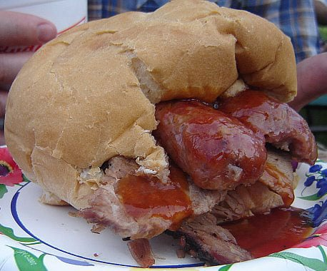 Would You Eat This Pork, Beef, and Bratwurst Sandwich?