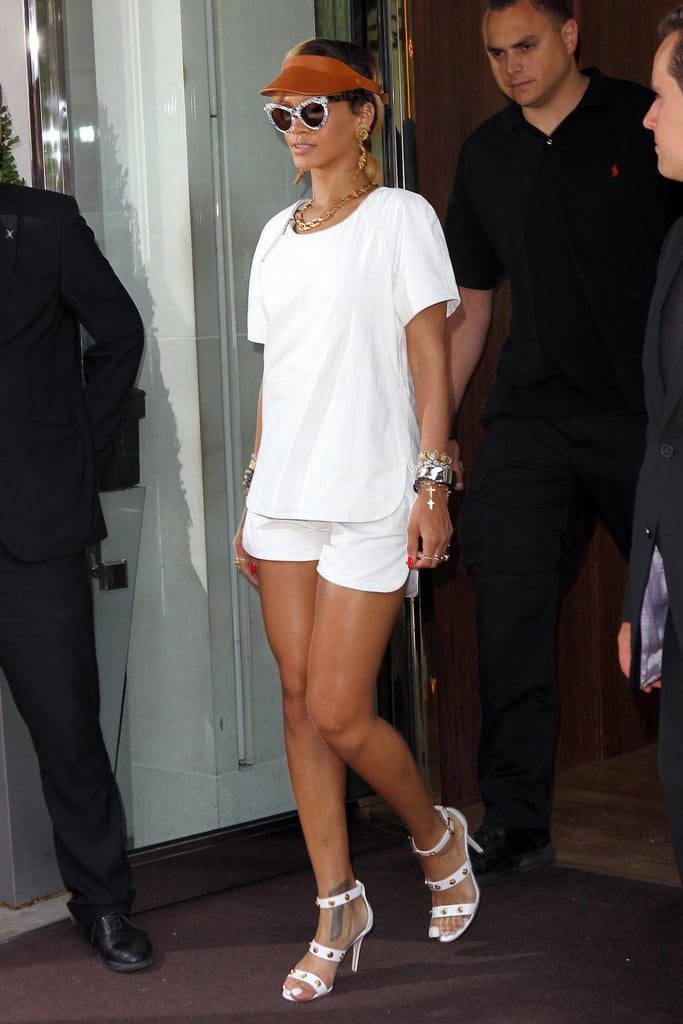 An edgy spin on tennis whites, complete with an orange visor and bevy of mixed-metal jewels, had heads turning in London.