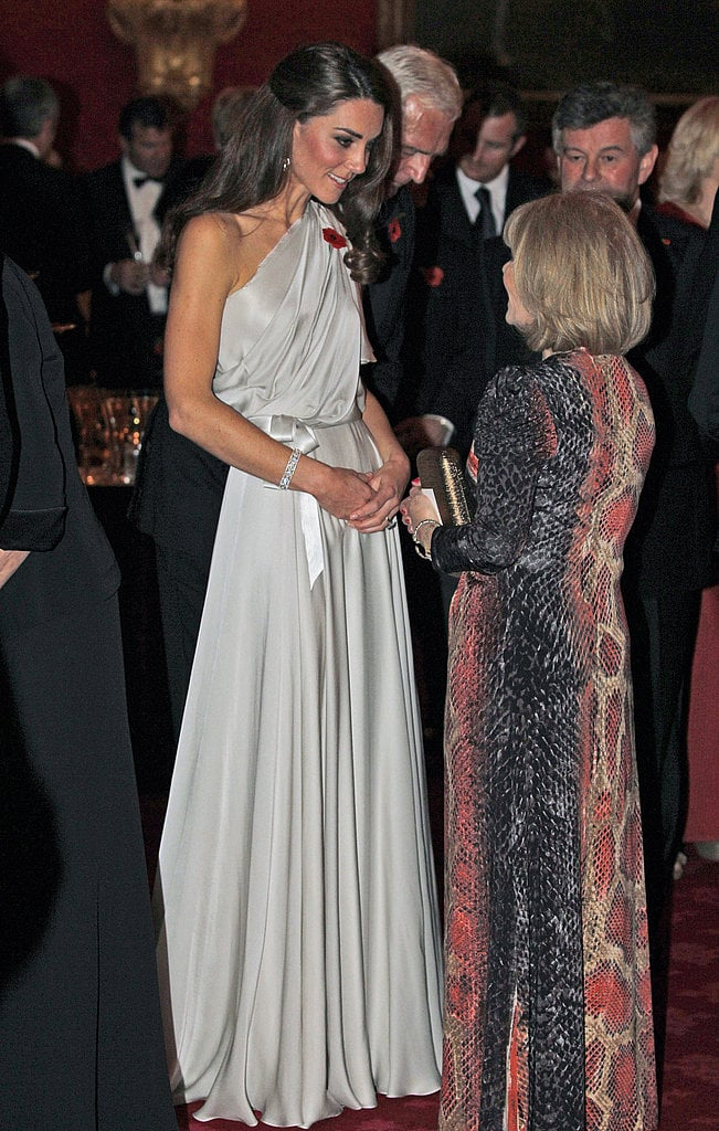 Kate looked gorgeous in an off-the-shoulder silk Jenny Packham dress.