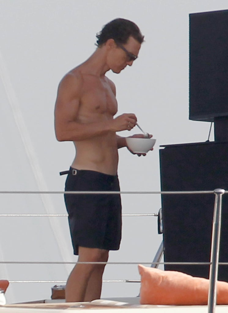 Matthew showed off his muscles during an August 2012 vacation in Ibiza, Spain.