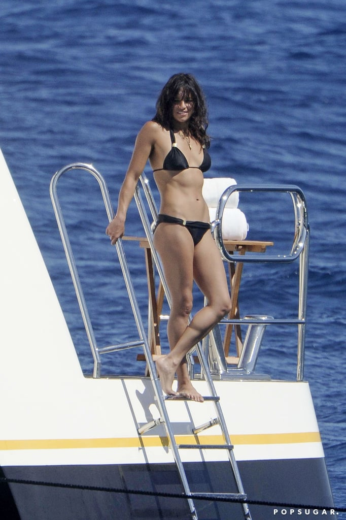 Michelle Rodriguez put her fit frame on display in August 2014 when she partied on a yacht in Sardinia.