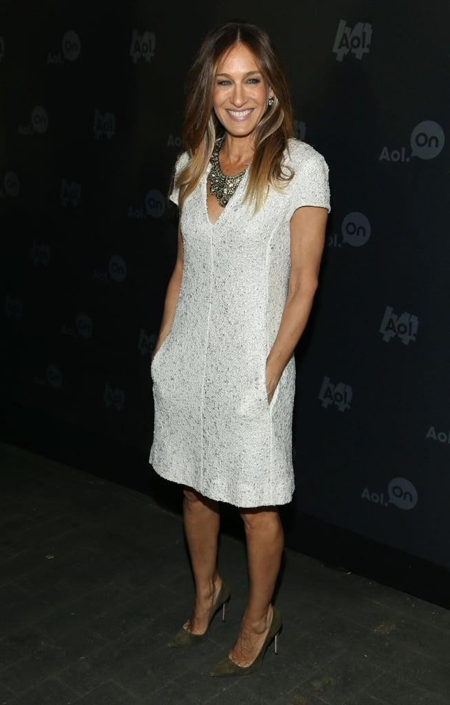 Sarah Jessica Parker looked effortless in her white tweed L'Agence dress at the 2013 Digital Content NewFront event in NYC. A jeweled statement necklace added a dash of pizzazz to her look.