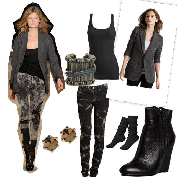 Diesel Black Gold Fall 2010, Rachel by Rachel Roy Tie-Dye Jeans ($50, originally $99), Wet Seal Tank ($7), Vince Herringbone Blazer ($485), Modern Vintage Bootie ($295), Dries van Noten Cuff ($553), Marc by Marc Jacobs Faceted Stud Earrings ($48)