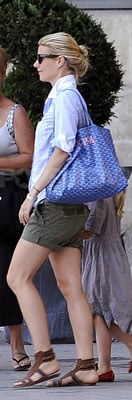 Gwyneth Paltrow Wearing Olive Shorts and Goyard Bag in Paris