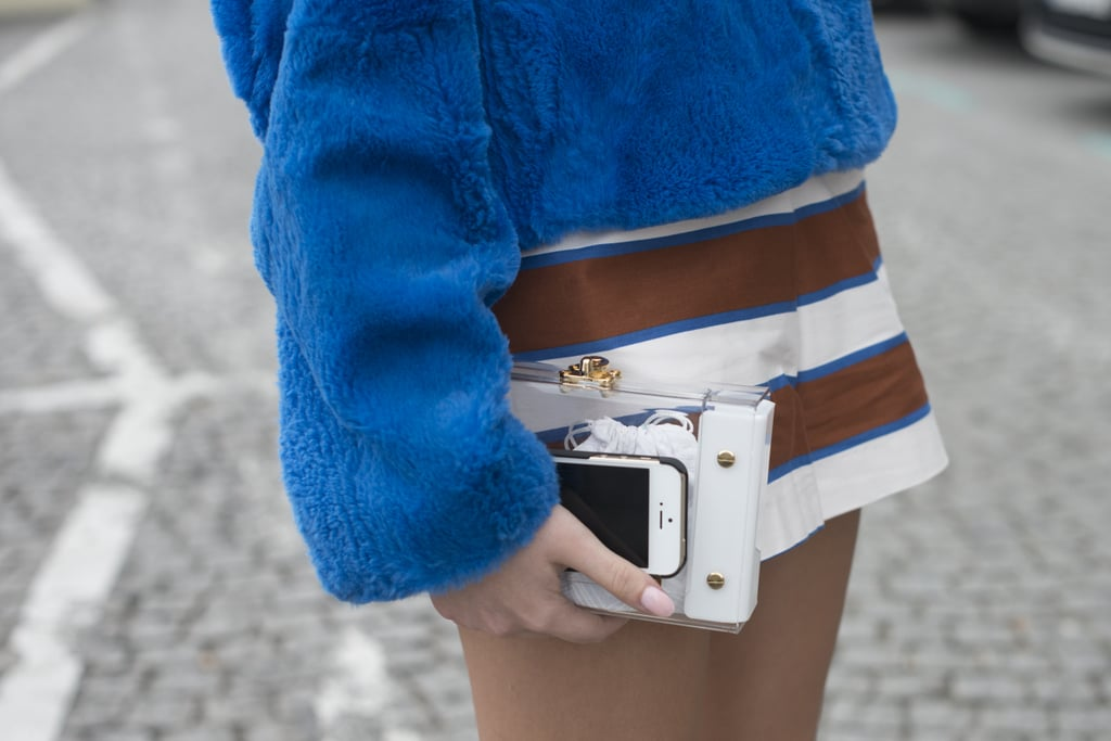You'll never wonder where you've put your phone with a see-through clutch like this in hand.