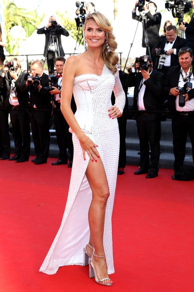 Heidi Klum in White Versace at the 2013 Cannes Film Festival
