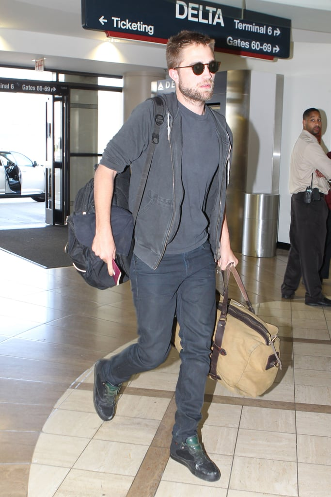 Robert Pattinson hit Los Angeles airport ready for a flight out on April 21,  after spending time at Coachella with girlfriend Kristen Stewart.