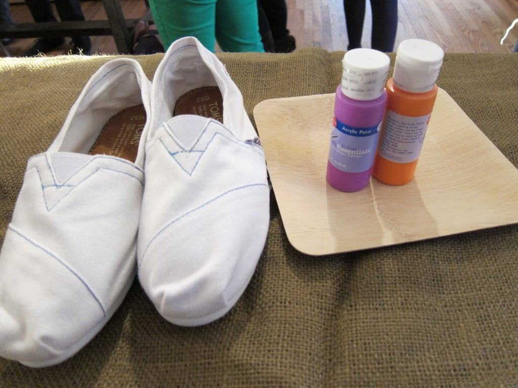 What You'll Need:   A classic pair of white TOMS ($44) — if you want to decorate a different style, feel free to. The white canvas style provides a clean slate and an easy background to work with.  Disposable mini trays ($2 for 12-pack), which make the setup seamless and the cleanup effortless.  25-pack of paint brushes ($7, not pictured)
