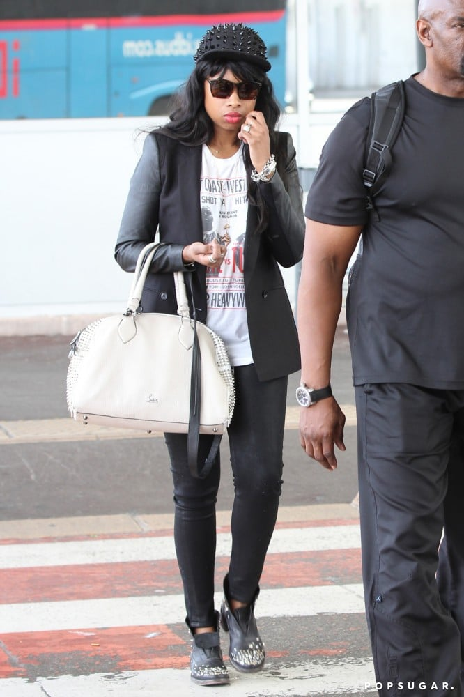 Don't be fooled by Jennifer Hudson's casual tee! The singer topped it off with a sharp blazer and studded cap.