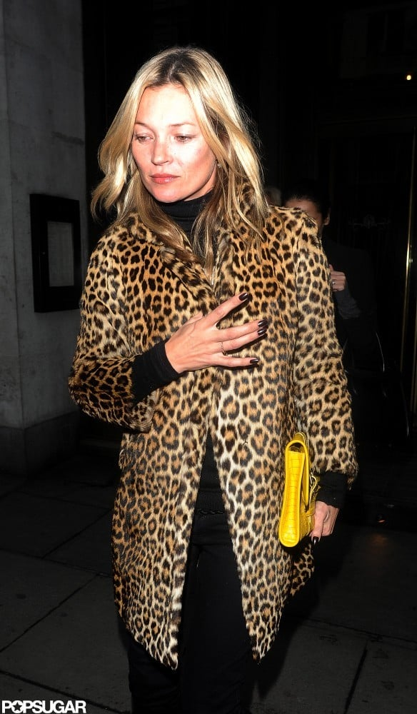 Kate Moss wore a leopard-print jacket.