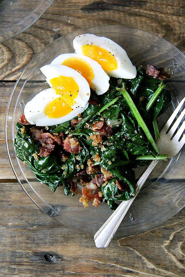 Warm Spinach Salad With Soft-Boiled Eggs and Bacon