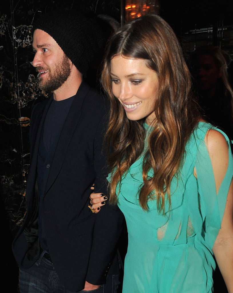 Jessica Biel smiled while out with her husband, Justin Timberlake, in NYC.