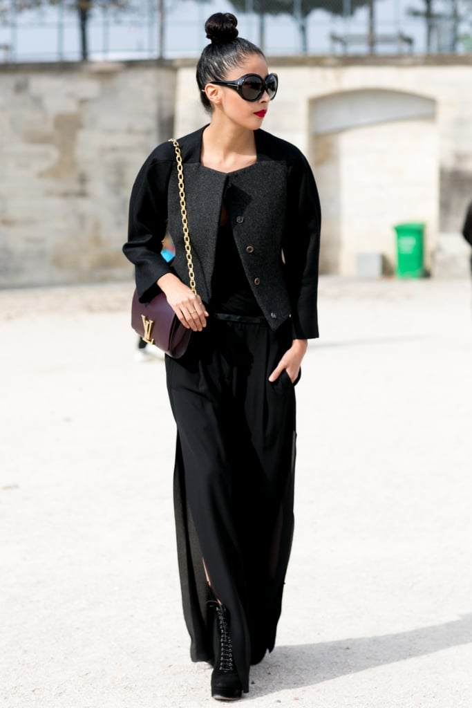 Wearing all-black with elegance.