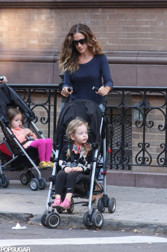Sarah Jessica Parker pushed Tabitha Broderick in a stroller with Loretta Broderick close behind.