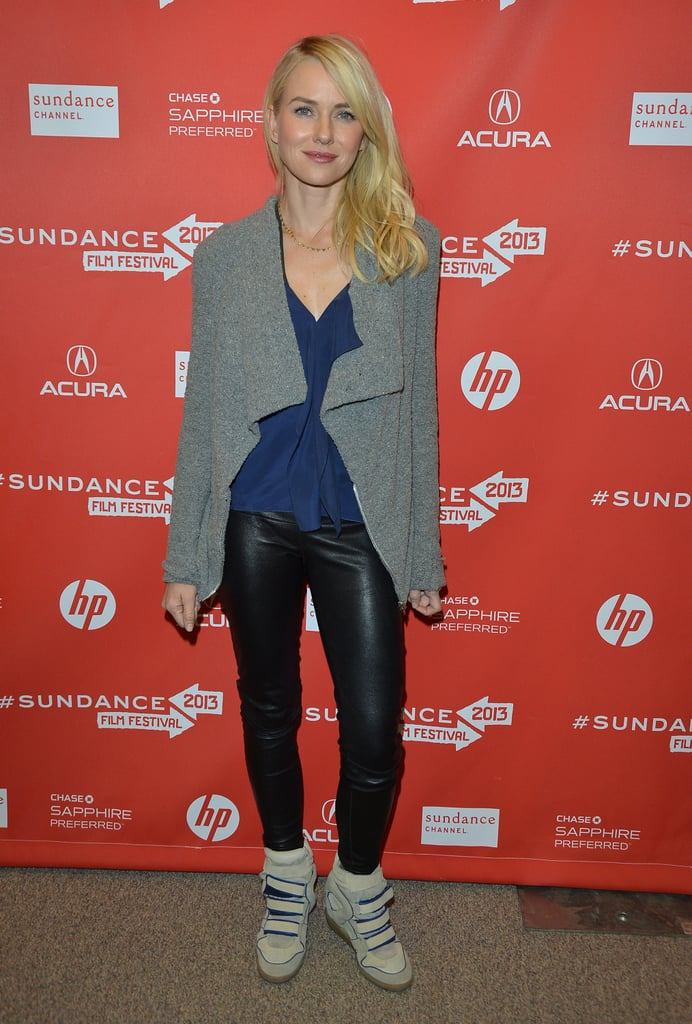 Naomi Watts's look paired leather skinnies with a draped cardigan and Isabel Marant sneakers at the premiere of Two Mothers.