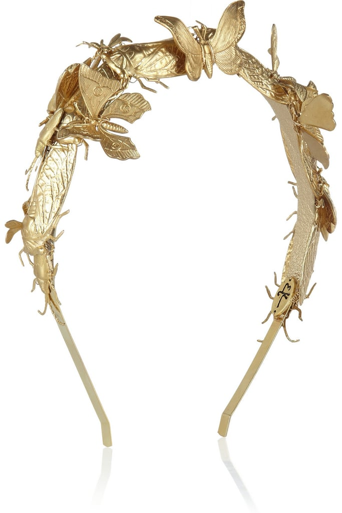 Beautiful gold butterflies dance across this ethereal gold Eugenia Kim Milou embellished headband ($388).