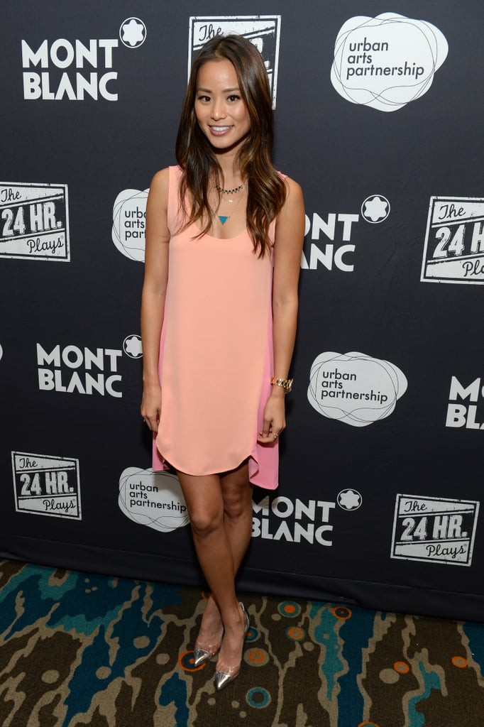 Jamie Chung donned the prettiest coral Lovers + Friends minidress and metallic cap-toe pumps at a Montblanc party in Santa Monica, CA.