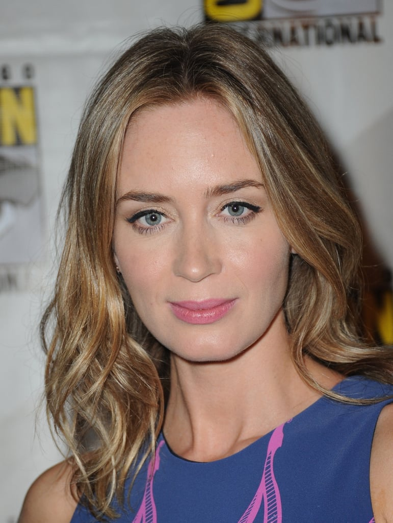 Emily Blunt showed off a slightly lighter hair hue and pink lipstick while attending a preview.