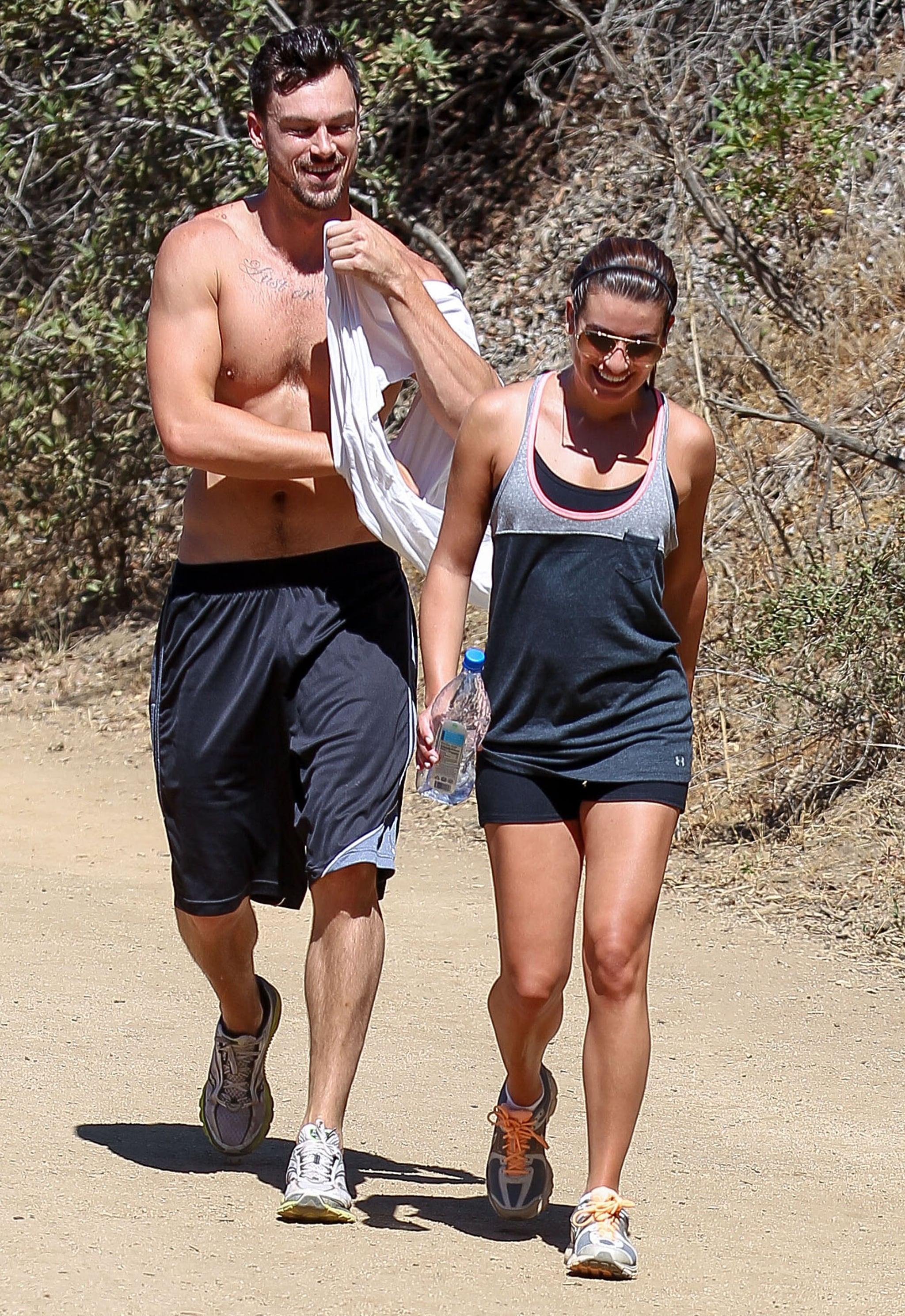 Lea Michele went hiking with shirtless boyfriend Matthew Paetz in LA on Saturday.