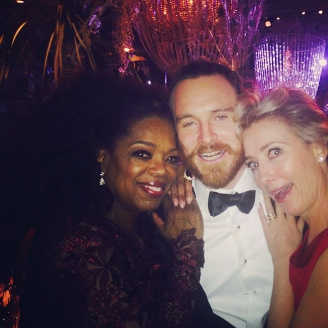 Oprah snapped a selfie with Michael Fassbender and Emma Thompson at the BAFTA Awards. Source: Instagram user oprah