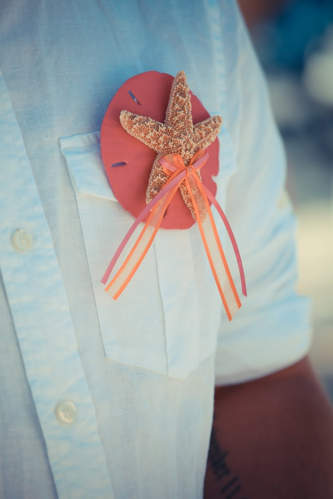 They're beachy, inexpensive, and much cuter than traditional floral boutonnieres. Photo by Bryce Lafoon Photography