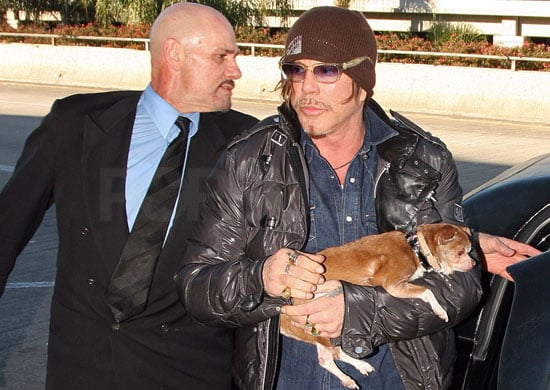 Mickey Rourke and Loki Leave LAX After His First Award at the Golden Globes