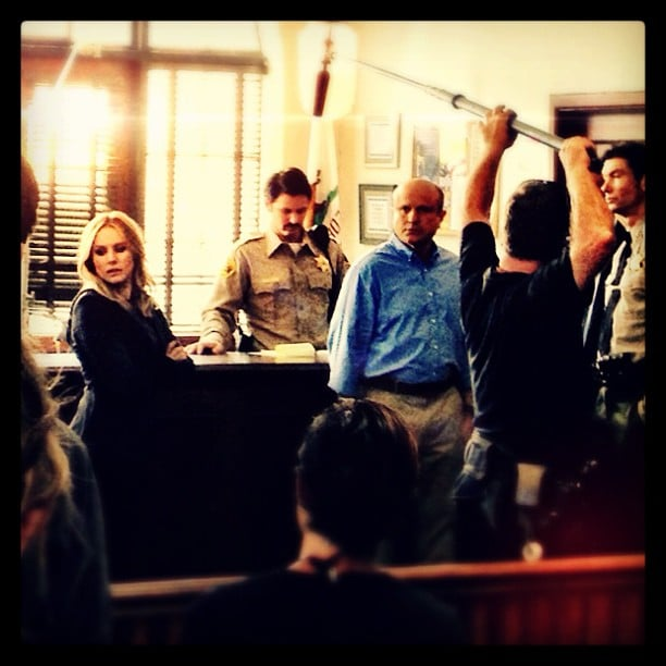 The cast shot a scene in what looks like the sheriff's office. Source: Instagram user theveronicamarsmovie