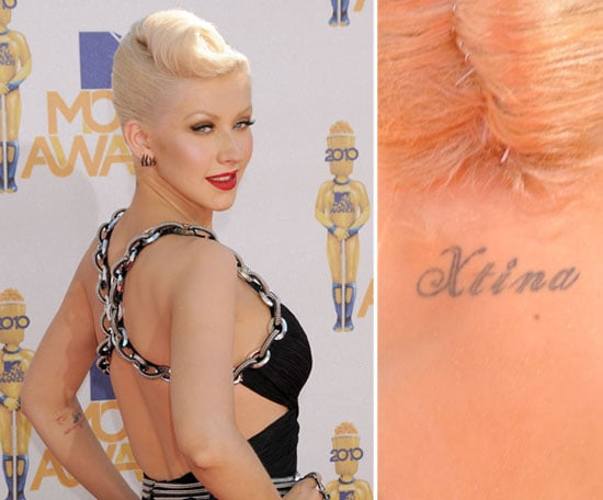 "Christina Aguilera has her nickname ""Xtina"" inked on the back of her neck."