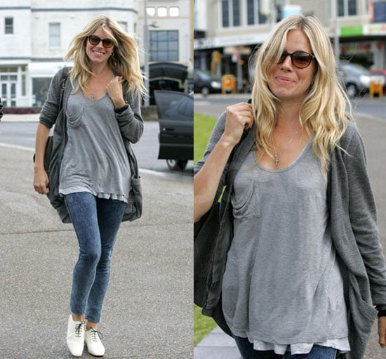 Sienna Miller in Gray Tank and Cardigan and White Oxfords Walking Along Bondi Beach